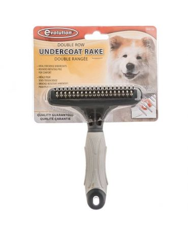 Evolution Dog Undercoat Rake with Rotating Pins Double Row