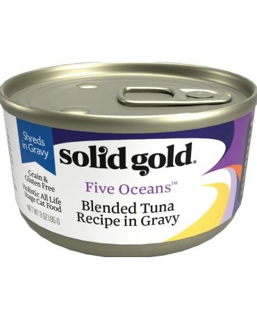 Solid Gold Five Oceans Blended Tuna Shreds in Gravy Recipe Canned Cat Food 6oz