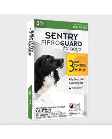 Sentry Fiproguard Flea & Tick Treatment for Dogs 23-44lb, 3 Applications