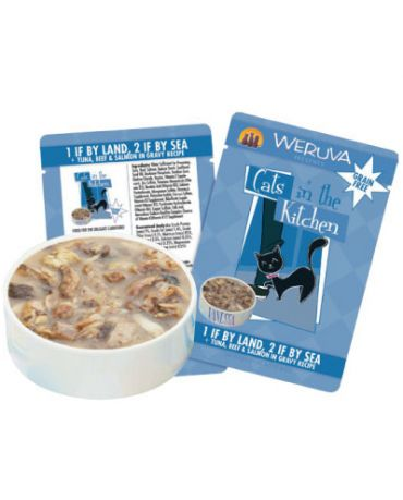 Cats in the Kitchen 1 If By Land, 2 If By Sea Cat Food Pouch 3oz