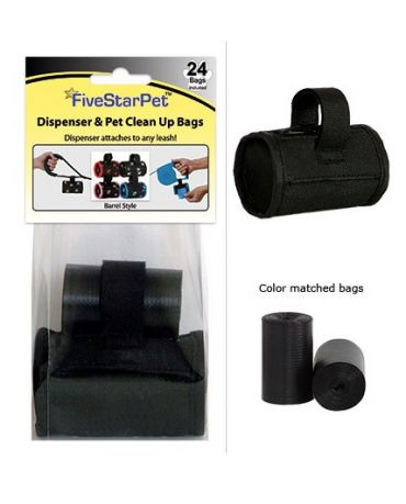 Five Star Pet Clean Up Bag Barrel Dispenser Black