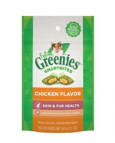 Feline Greenies SmartBites Healthy Skin & Fur Cat Treats Chicken Flavor 2.1oz