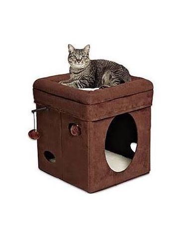 Midwest Feline Nuvo Curious Cat Cube Brown Faux Suede