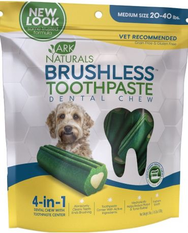 Ark Naturals Brushless Toothpaste Dental Chews for Dogs, Medium 18oz