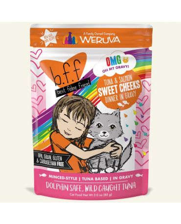 BFF OMG Sweet Cheeks Tuna & Salmon Wet Cat Food Pouch 3oz