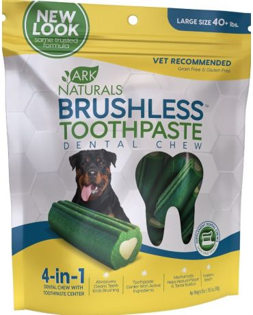 Ark Naturals Brushless Toothpaste Dental Chews for Dogs, Large 18oz