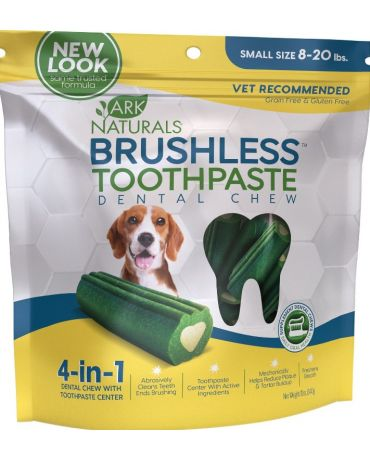 Ark Naturals Brushless Toothpaste Dental Chews for Dogs, Small 12oz