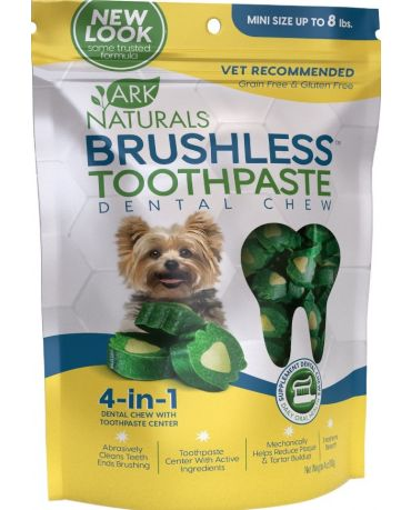 Ark Naturals Brushless Toothpaste Dental Chews for Dogs, Mini 4oz