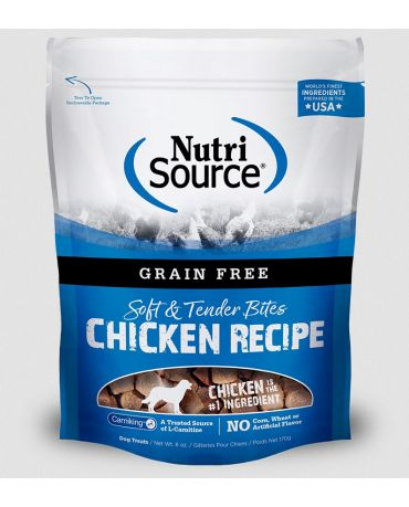 NutriSource Grain Free Soft & Tender Bites Chicken Recipe Dog Treats 6oz