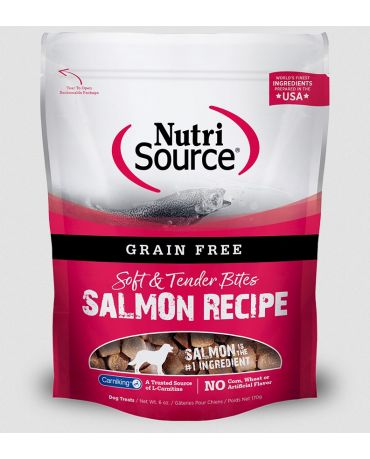 NutriSource Grain Free Soft & Tender Bites Salmon Recipe Dog Treats 6oz