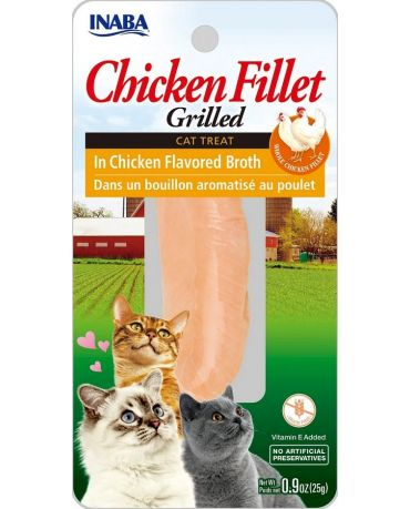Inaba Grilled Chicken Fillet In Chicken Flavored Broth Cat Treat 0.9oz