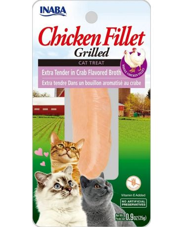 Inaba Grilled Chicken Fillet Extra Tender In Crab Flavored Broth Cat Treat 0.9oz