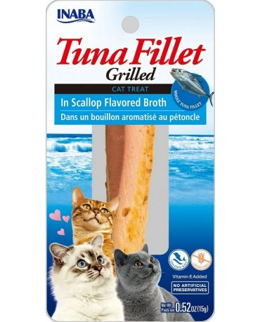 Inaba Grilled Tuna Fillet In Scallop Flavored Broth Cat Treat 0.52oz