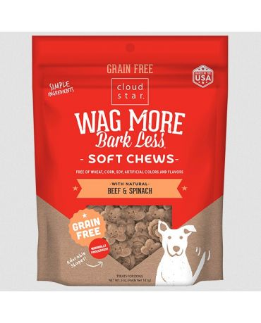 Wag More Bark Less Soft & Chewy Grain-Free Beef & Spinach Dog Treats 5oz