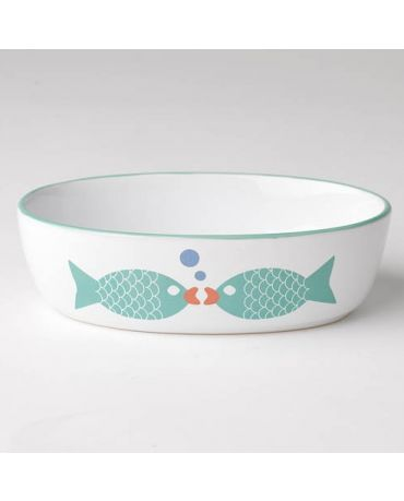 PetRageous Designs Bubble Fish Cat Oval Bowl, White & Turquoise Shimmer