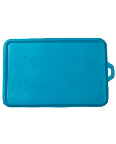 PetRageous Designs Non-Slip Rubber Pet Bowl Placemat, Aqua