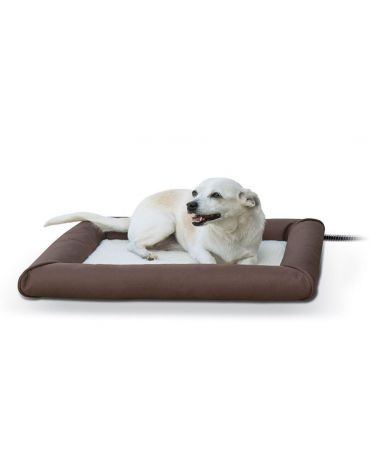 K&H Deluxe Lectro-Soft Outdoor Heated Bed with Bolster Small Chocolate
