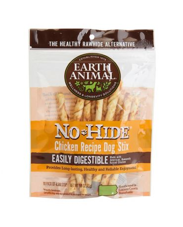 Earth Animal No-Hide Chicken Recipe Dog Chew Stix 10 Pack