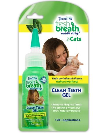 TropiClean Fresh Breath Clean Teeth Oral Care Gel for Cats 2oz