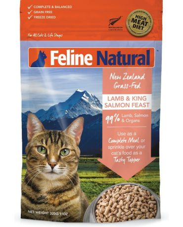 Feline Natural Grain-Free Lamb & King Salmon Feast Freeze-Dried Cat Food 11oz