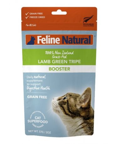 Feline Natural Booster Lamb Green Tripe Freeze-Dried Cat Food Topper 2oz
