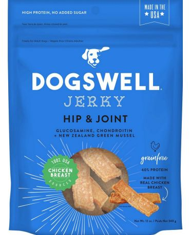 Dogswell Grain-Free Hip & Joint Chicken Jerky Treats for Dogs 12oz