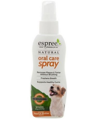 Espree Natural Oral Care Spray for Dogs Peanut Butter Flavor 4oz