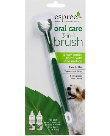 Espree Natural Oral Care 3-in-1 Toothbrush for Dogs