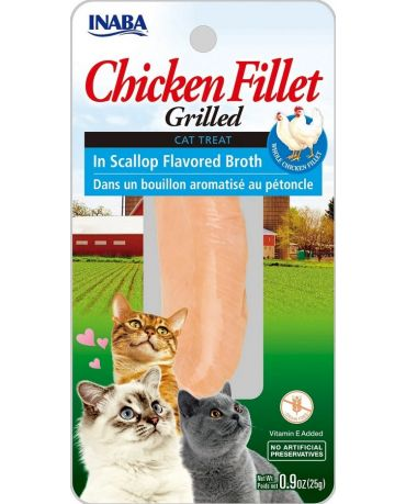 Inaba Grilled Chicken Fillet In Scallop Flavored Broth Cat Treat 0.9oz