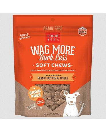 Wag More Bark Less Soft & Chewy Grain-Free Peanut Butter & Apples Dog Treats 5oz