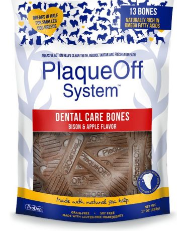 ProDen PlaqueOff Dental Care Bones Bison & Apple Flavor Dog Chews 17oz