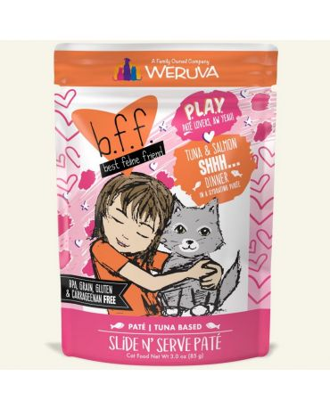 BFF PLAY Shhh...Tuna & Salmon Wet Cat Food Pouch 3oz