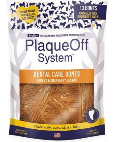 ProDen PlaqueOff Dental Care Bones Turkey & Cranberry Flavor Dog Chews 17oz