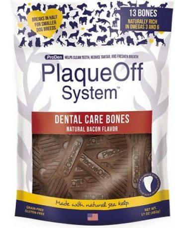 ProDen PlaqueOff Dental Care Bones Natural Bacon Flavor Dog Chews 17oz