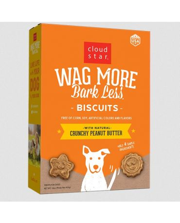Wag More Bark Less Oven Baked Biscuits Crunchy Peanut Butter Dog Treats