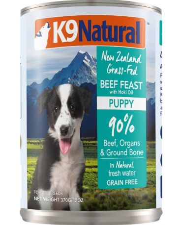 K9 Natural Grain-Free Puppy Beef Feast With Hoki Oil Canned Dog Food