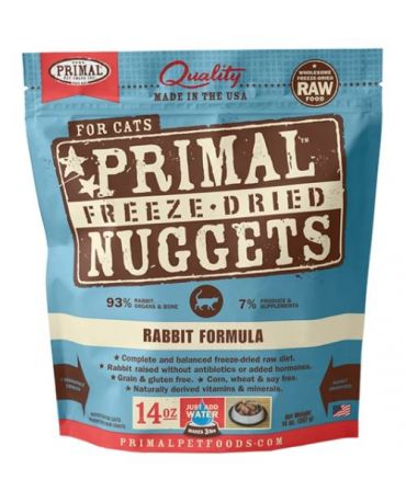 Primal Raw Freeze-Dried Rabbit Formula Cat Food Nuggets