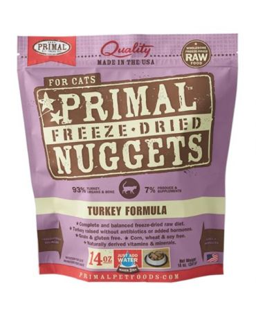 Primal Raw Freeze-Dried Turkey Formula Cat Food Nuggets