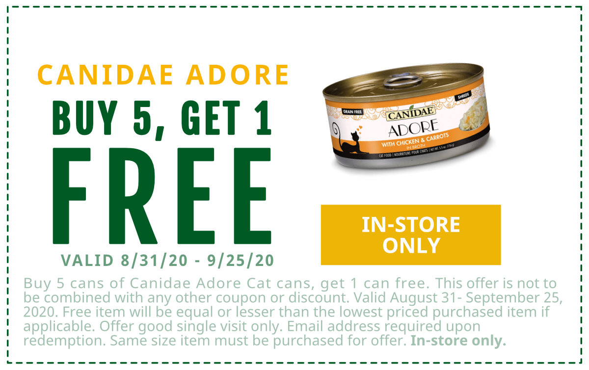 Free Adore Cat Cans with purchase